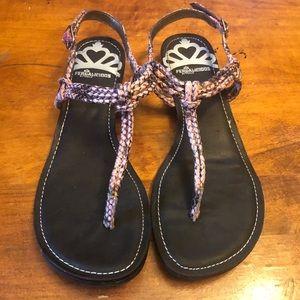 Fergalicious Black With Pink Snakeskin Sandals